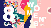 Vector design for greeting card for International Women's Day