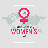 Vector illustration on the theme International women`s day. Woman sign. For a poster or banner and greeting card.