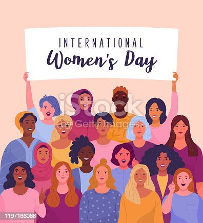 Vector illustration of diverse cartoon women standing together and holding a placard over their heads. Isolated on background.