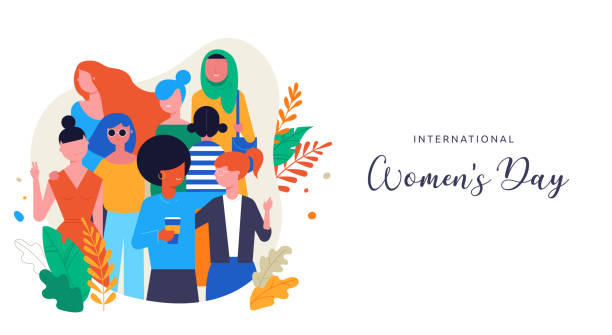 international women's day. vector illustration, card, poster, flyer and banner. - tylko kobiety stock illustrations