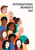 International Womens Day. Vector illustration of abstract women with different skin colors. Struggle for freedom, independence, equality.