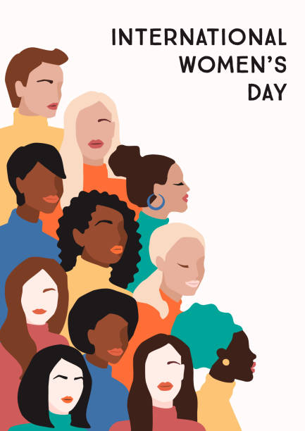 International Womens Day. Vector illustration of women with different skin colors. International Womens Day. Vector illustration of abstract women with different skin colors. Struggle for freedom, independence, equality. abstract silhouettes stock illustrations