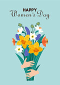 International Women's Day. Vector illustration with bouquet of flowers. Beautiful template. Can be used for banner, poster, card, postcard and printable.