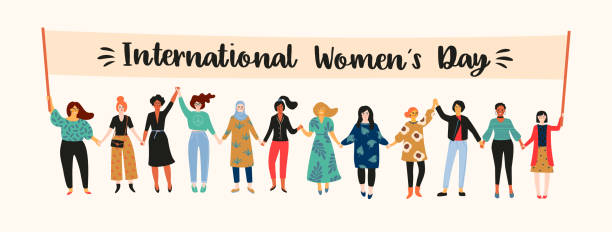 international womens day. vector illustration with women different nationalities and cultures. - international womens day stock illustrations, clip art, cartoons, & icons