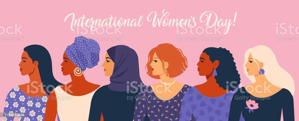 국제 여성의 날입니다. 벡터 일러스트 레이 션 여자 다른 국적과 문화. - 로열티 프리 International Womens Day 벡터 아트