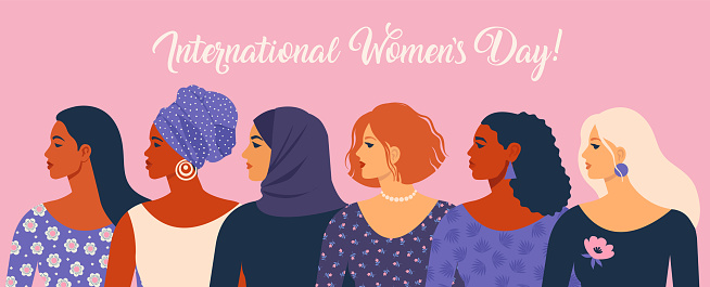 International Women's Day. Vector illustration with women different nationalities and cultures.