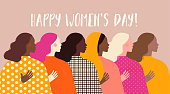 International Women's Day. Vector illustration with women different nationalities and cultures. Struggle for freedom, independence, equality.