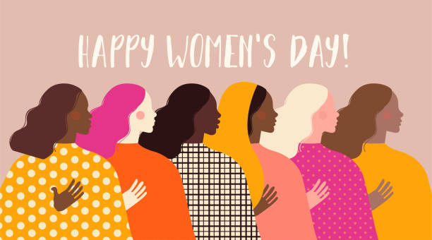International Women's Day. Vector illustration with women different nationalities and cultures. Struggle for freedom, independence, equality. vector art illustration