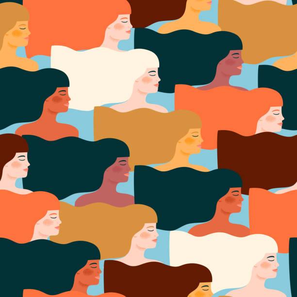 국제 여성의 날입니다. 다른 여자와 벡터 완벽 한 패턴입니다. - 여성 문제 stock illustrations