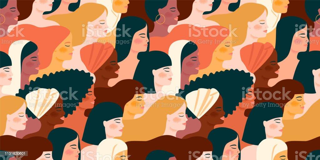국제 여성의 날입니다. 벡터 완벽 한 패턴 여성 다른 국적과 문화. - 로열티 프리 International Womens Day 벡터 아트