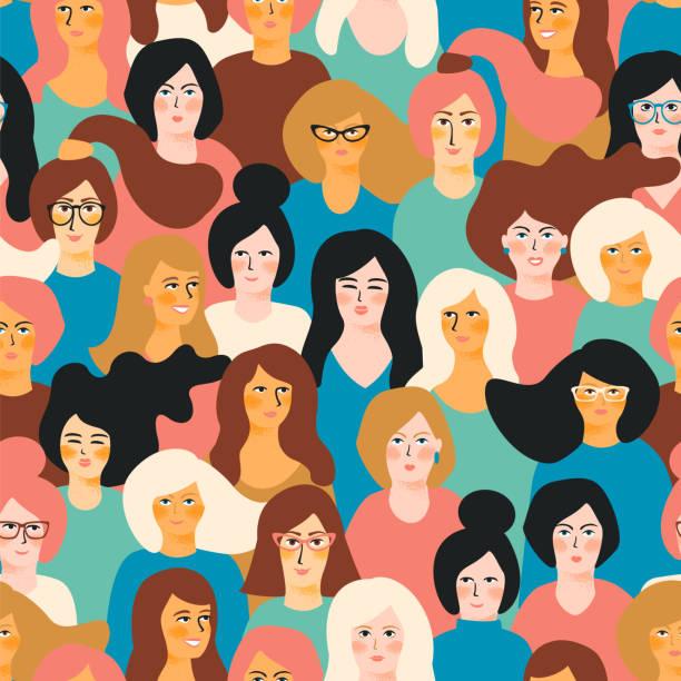국제 여성의 날입니다. 벡터 여자 얼굴로 완벽 한 패턴입니다. - 여성 문제 stock illustrations