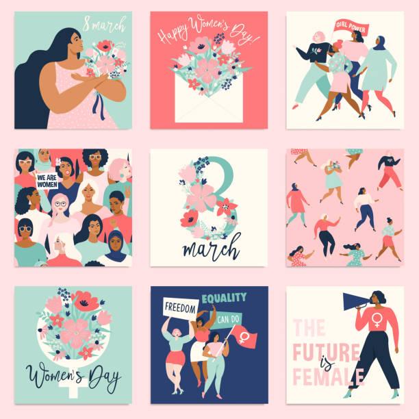 국제 여성의 날입니다. 카드, 포스터, 플라이어 및 다른 사용자에 대 한 서식 파일이 벡터. - 여성 문제 stock illustrations
