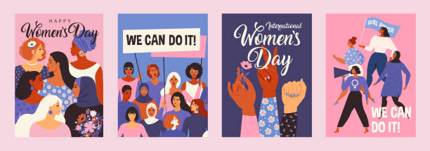 International Women's Day. Vector templates for card, poster, flyer and other users. International Women's Day. Vector templates for card, poster, flyer and other users. confidence stock illustrations