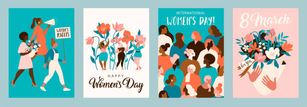 International Women's Day. Vector templates for card, poster, flyer and other users. International Women's Day. Vector templates for card, poster, flyer and other users. day stock illustrations