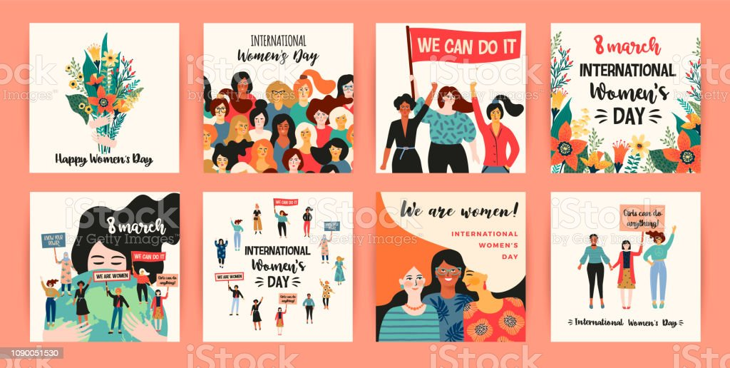 International Womens Day. Vector templates with women different nationalities and cultures.
