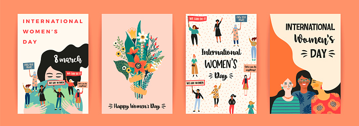 International Womens Day. Vector templates with women different nationalities and cultures