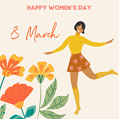 International Women's Day. Vector vintage template with cute dancing girl and flowers in retro style. Can be used for banner, poster, card, postcard and printable.