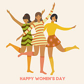 International Women's Day. Vector vintage template with cute dancing girls in retro style. Can be used for banner, poster, card, postcard and printable.