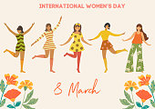 International Women's Day. Vector vintage template with cute dancing girls and flowers in retro style. Can be used for banner, poster, card, postcard and printable.