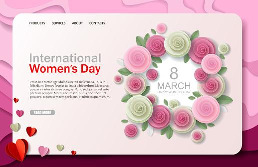 International Womens Day vector website landing page design template