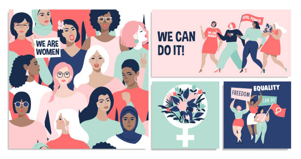 international women's day. we can do it! - international womens day stock illustrations