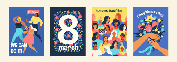 international womens day. we can do it vector templates for card, poster, flyer and other users. - international womens day stock illustrations, clip art, cartoons, & icons