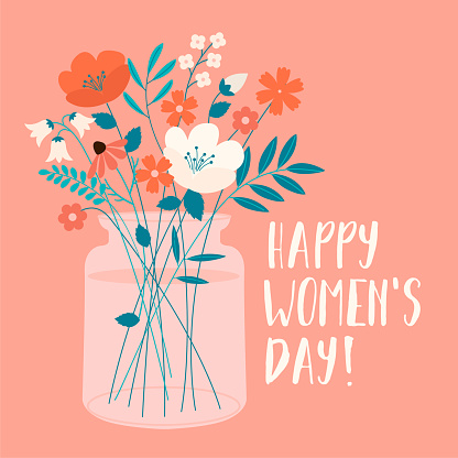 International Women's Day with spring bouquet. Vector template for card, poster, flyer and other users.