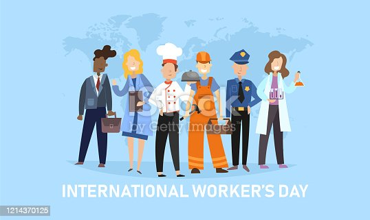 istock International Workers Day banner with diverse people 1214370125