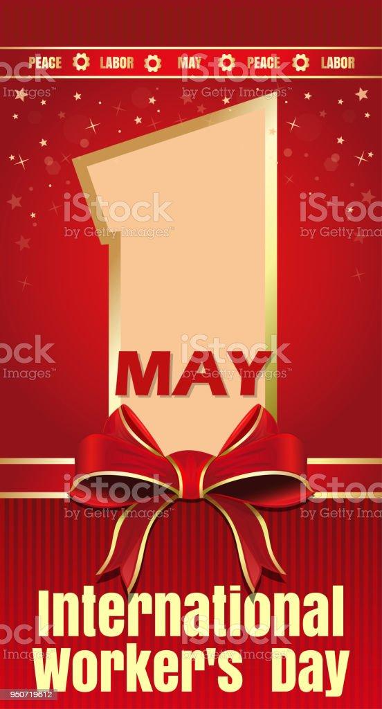 Tarjeta del día de los trabajadores internacionales. 1 de mayo. Día del trabajo - ilustración de arte vectorial