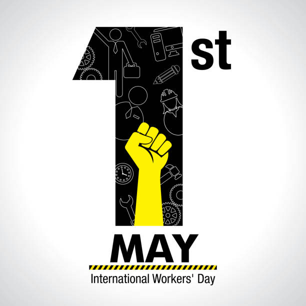 international worker's day greeting card. icons of woman, man, hammer, gears, fist, computer, pencil, clock inside number one in black color on white background - alejomiranda stock illustrations