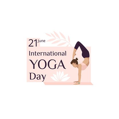 International Yoga Day banner featuring a young girl in a yoga pose