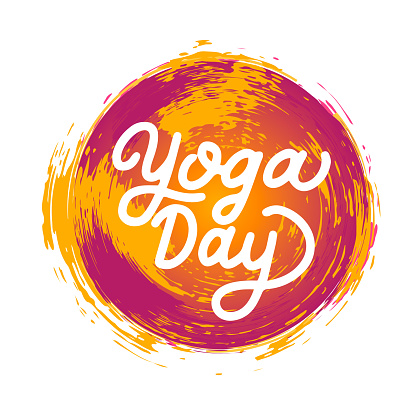 International Yoga Day calligraphy hand lettering with bright paint strokes. Easy to edit vector template for banner, typography poster, flyer, sticker, postcard, t-shirt, logo design, etc