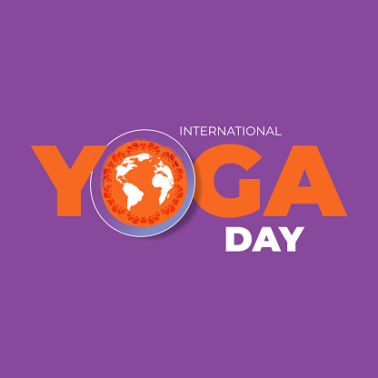 International Yoga Day celebrate 21 june. Greeting card, poster, banner, flyer, postcard concept design. Orange paper word Yoga on purple background. Vector illustration