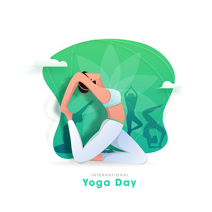 International Yoga Day Concept with Female Doing Yoga Asana in Different Poses on Abstract Background.