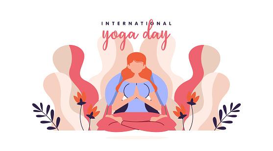 International yoga day flat illustration vector