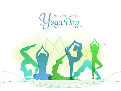International Yoga Day Font with Silhouette Women Practicing Yoga in Different Poses on Abstract Lotus Flower Background.