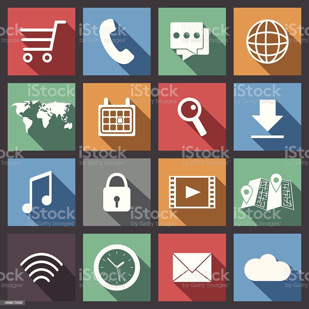 Internet activity and social media icons vector art illustration