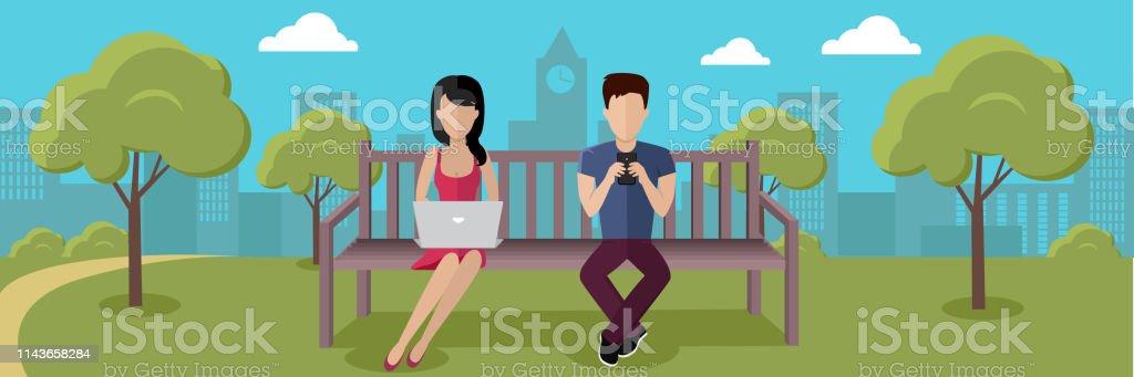 Internet Addiction Concept Vector in Flat Design vector art illustration