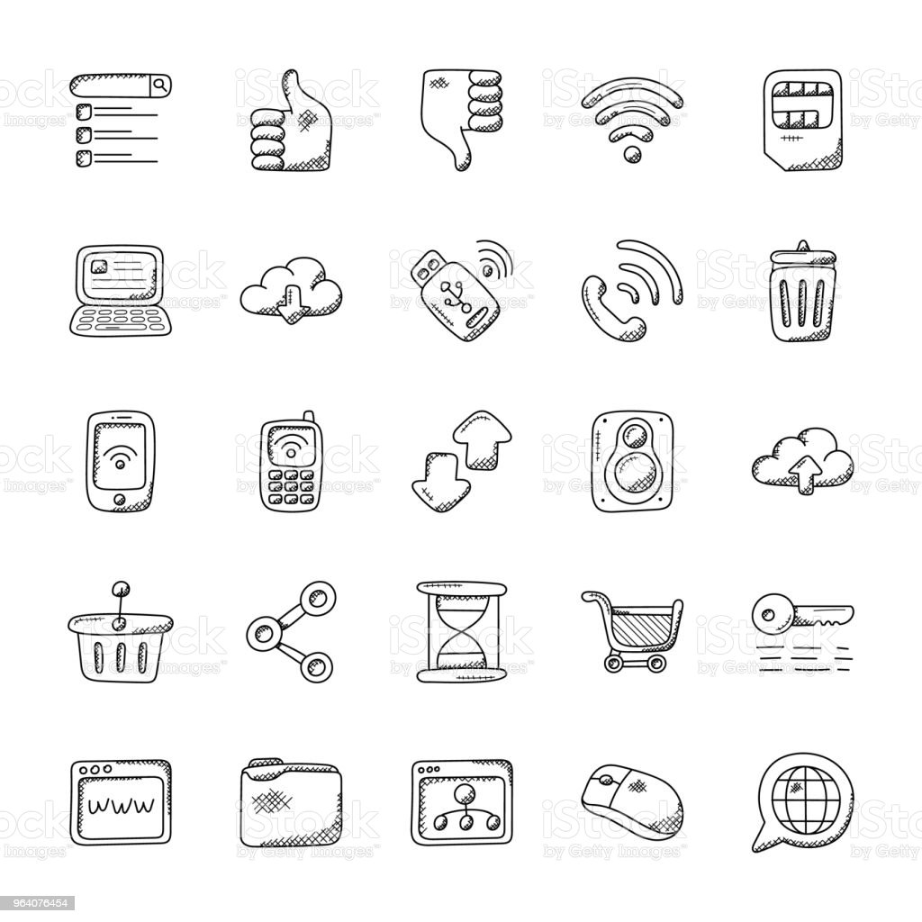 Internet and Communication Vector Icons Set - Royalty-free Archives stock illustration