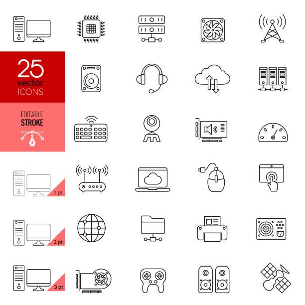 Internet and Computer Hardware Icon Set. Editable Stroke. vector art illustration