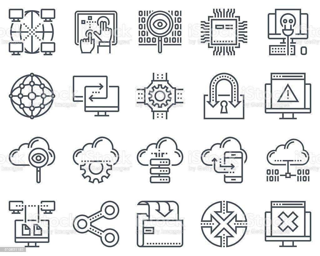 Internet and technology icon set vector art illustration