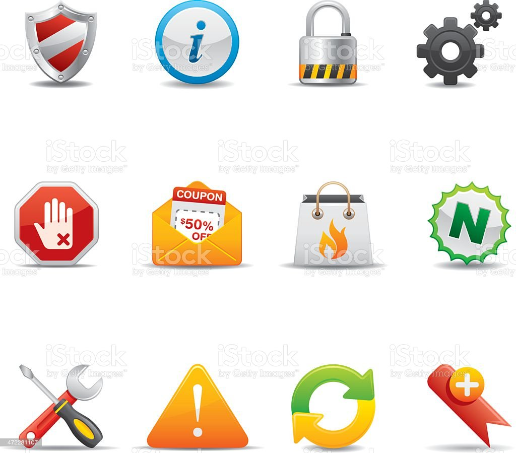 3D Internet and web icons with shadows royalty-free stock vector art