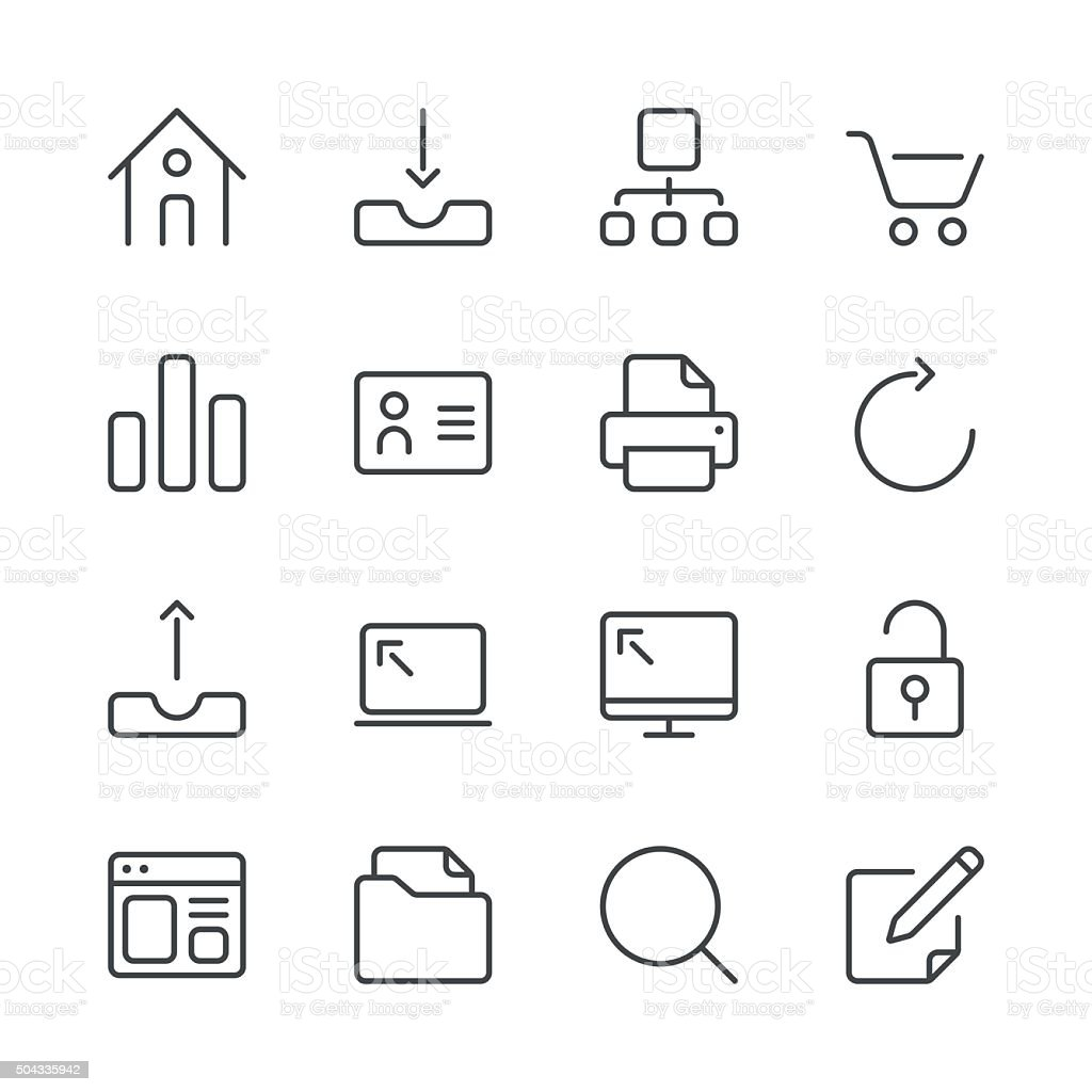 Internet and Website Icons set 1 | Black Line series vector art illustration