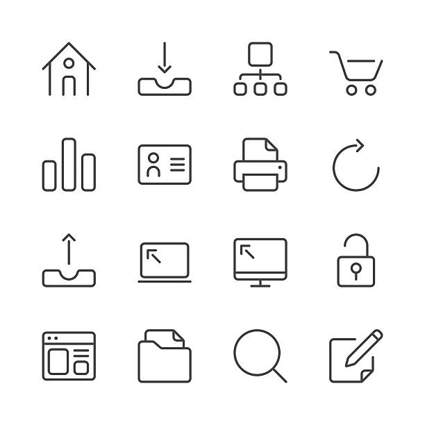 internet and website icons set 1 | black line series - part of a series stock illustrations