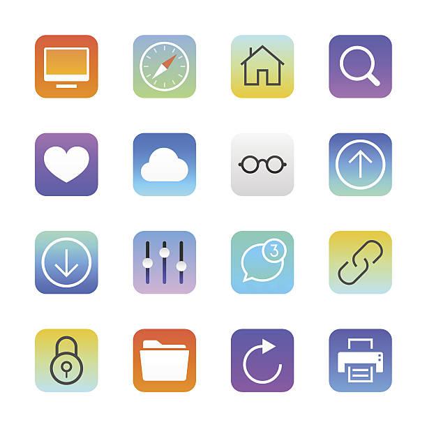 bildbanksillustrationer, clip art samt tecknat material och ikoner med internet and website icons set 1 | manhattan series - chain studio