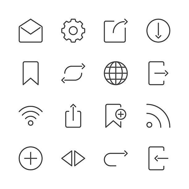 internet i strony internetowej ikony zestaw serii 2/czarna linia - otwarta przestrzeń ustawienia stock illustrations
