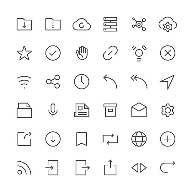 internet and website icons set 2 | thin line series - part of a series stock illustrations, clip art, cartoons, & icons