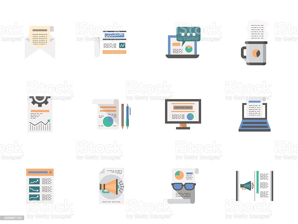 Internet articles flat color vector icons set vector art illustration