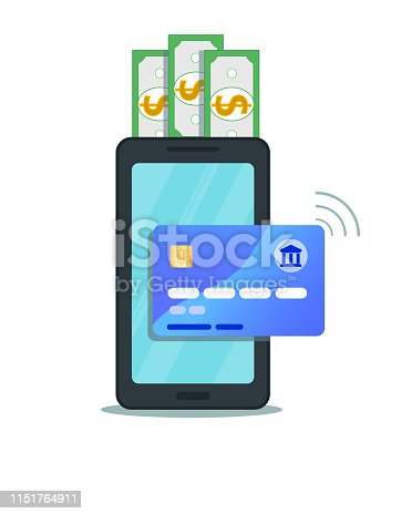 istock Internet banking concept. Flat design of online mobile payment via credit card with nfc technology. Secure shopping wireless pay transaction through smartphone isolated on white background 1151764911