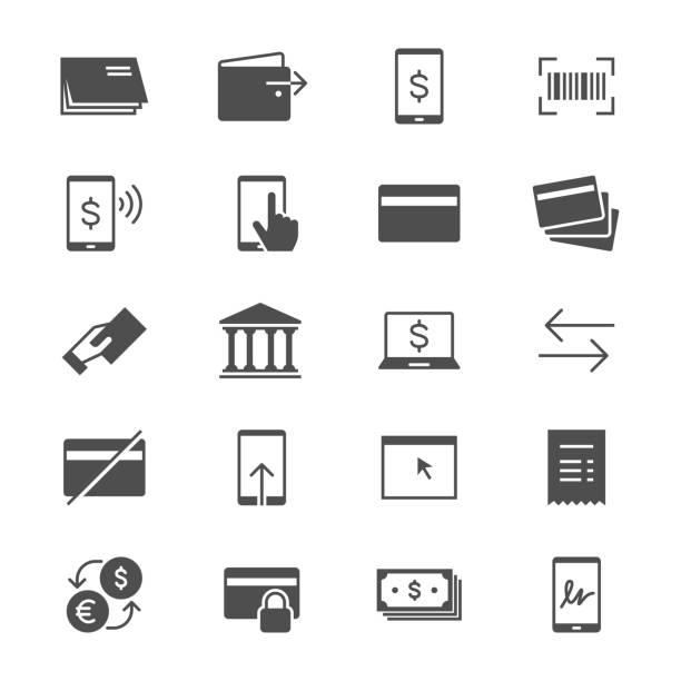 Internet-banking-flache Symbole – Vektorgrafik